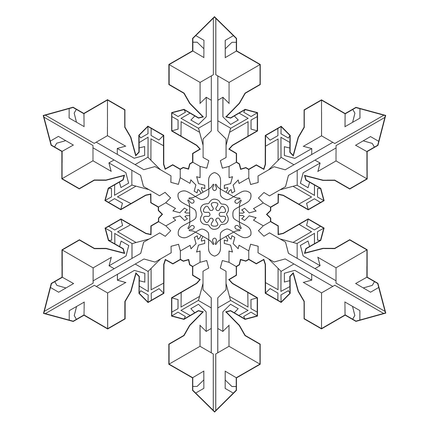 A Beautiful Snowflake For Coloring Based On A Real