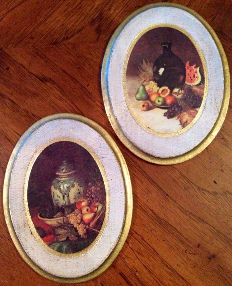 Pair Atq Vintage Florentine Italy Wood Tole Wall Plaques Fruit Vases