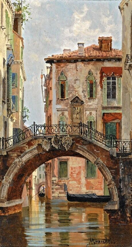 BRIDGE OVER A VENETIAN CANAL VENICE ITALY PAINTING BY ANTONIETTA BRANSEIS REPRO  | eBay -   - #antonietta #BRANSEIS #bridge #canal #eBay #FoodieTravel #italy #ItalyVacation #painting #REPRO #venetian #Venice #VeniceItaly