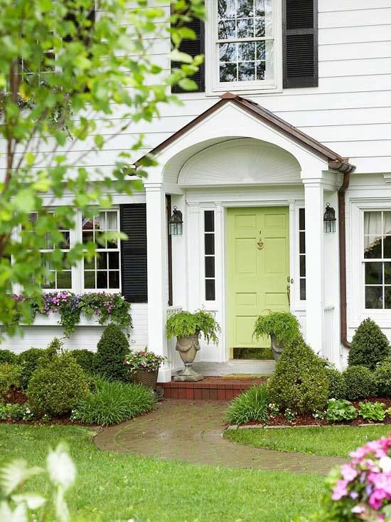 I Just Love A White House With Black Shutters And An Apple Green Door So Classic Traditional Front Doors Green Front Doors Painted Front Doors