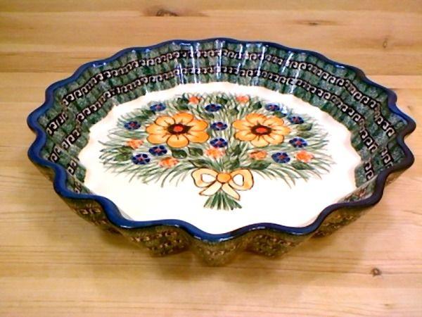 12  Stoneware Fluted Pie Dish UNIKAT & Polish Pottery 12-inch Fluted Pie Dish   Boleslawiec Stoneware ...