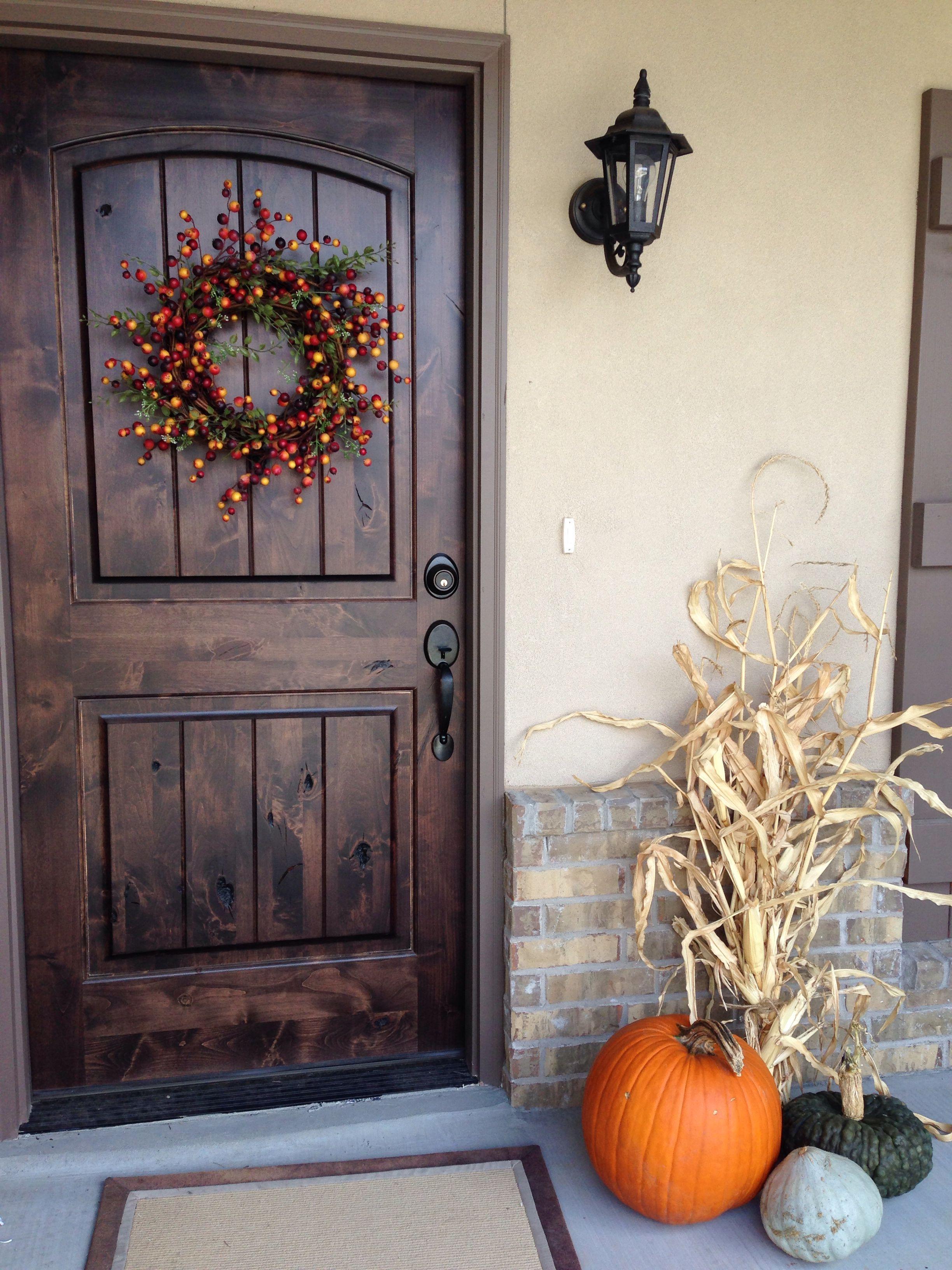 Fall porch decoration Beautiful front doors, Front door