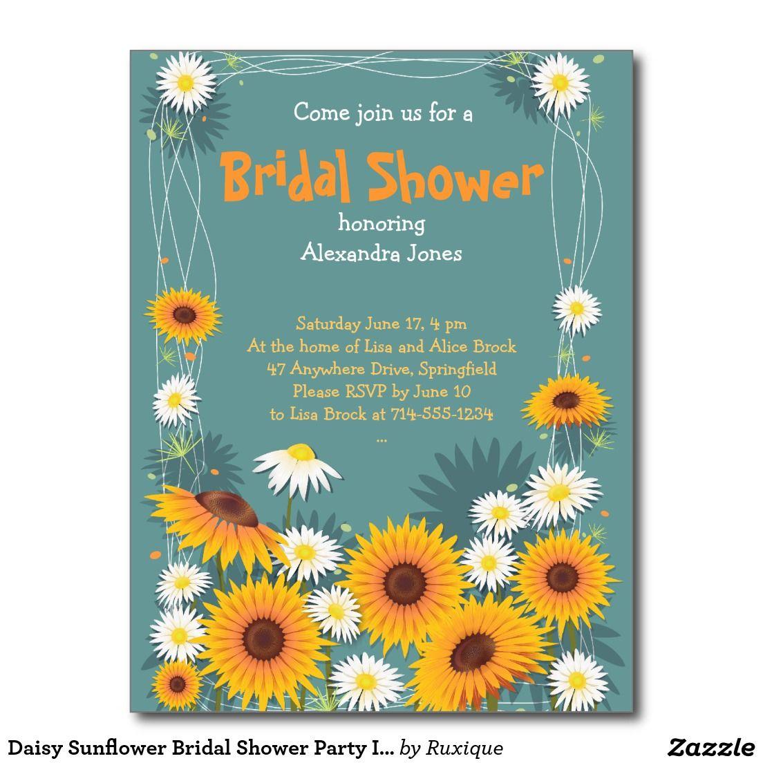 Daisy Sunflower Bridal Shower Party Invitation Postcard | Bridal ...