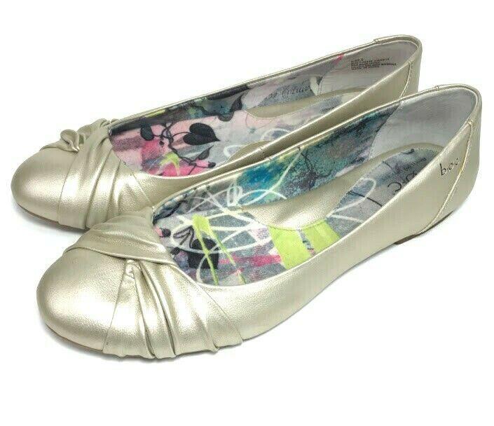 1ea464e49a64 B.O.C. Born Concept Womens Ballet Flats Silver Metallic Size 9 M Faux  Leather  Brn