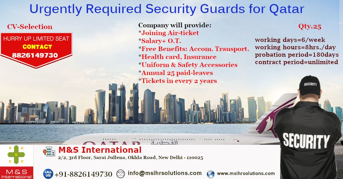 Urgently Required Security Guards For A Leading Company In Qatar
