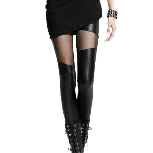 47432ec4dad08 Allegra K Woman Elastic Waist Fishnet Splicing Skinny Pants Leggings Black  XS