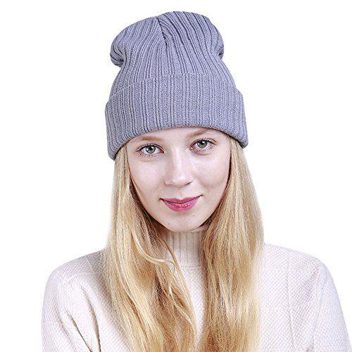 f935318f359 Ukallaite Notre siècle Femme Tendance Mode Bonnet en Tricot Chaud Hiver  Couleur Unie Bonnet de Ski Double Couche Casquette – Noir Gris Clair