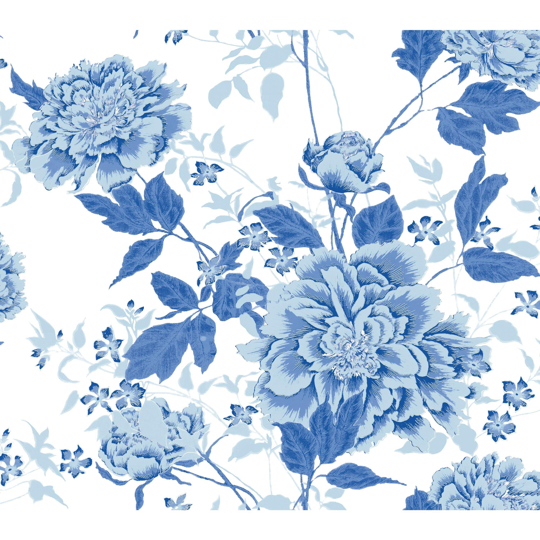 Vintage Floral Blue Peel Stick Wallpaper Walmart Com In 2020 Peel And Stick Wallpaper Blue Floral Decor Wallpaper
