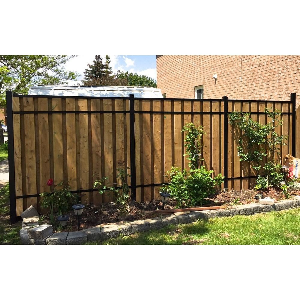 Slipfence 3 In X 2 In X 8 Ft Black Powder Coated Aluminum Fence Rail For Top Of Fence Sf2 Acr93 The Home Depot Aluminum Fence Wood Fence Backyard Fences