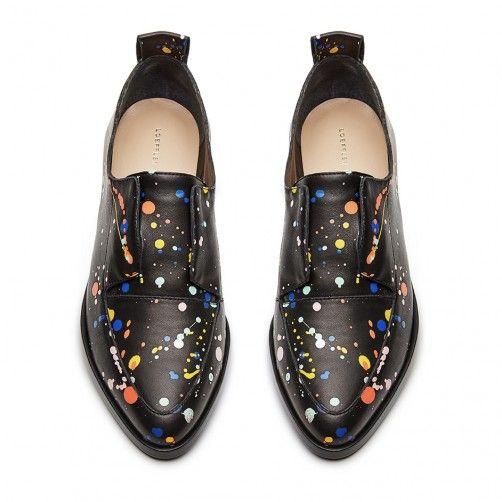 Slip-on oxford in black multi splatter paint nappa heel and leather sole Splatter  Paint Nappa