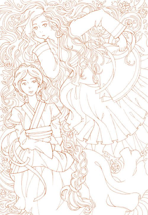 Hanbok Girls Coloring Page Manga Outlines For Coloring