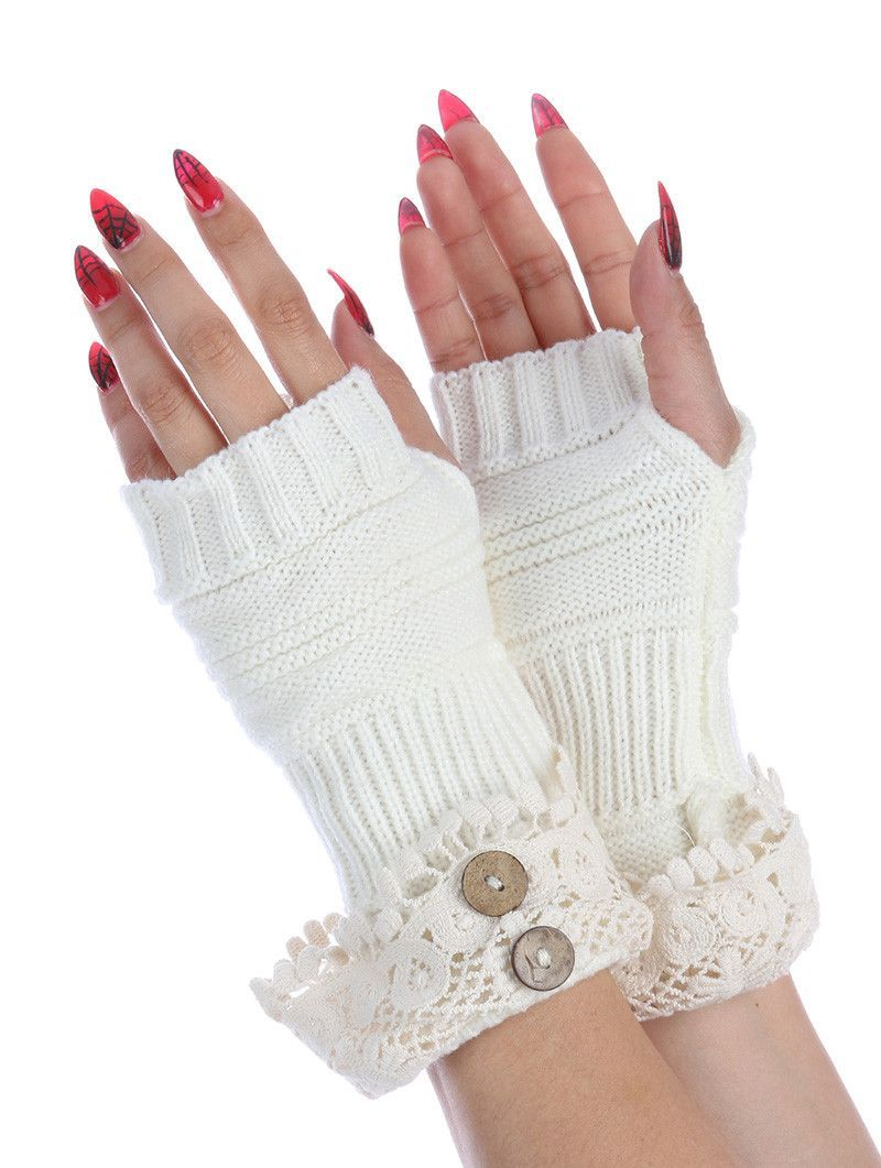 Laced Top Hand Wrist Warmer Button Embellished Knitted Gloves One Pair 100% Acrylic One Size