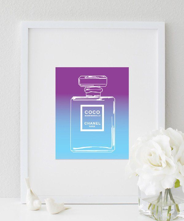 Living Room Walls Ombre Coco Chanel Perfume Bottle Purple Blue Print