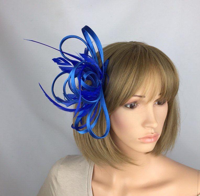 Fascinator races royal blue hat Fascinators cobalt blue hair accessory Blue marine blue wedding Fascinator hat bright blue comb