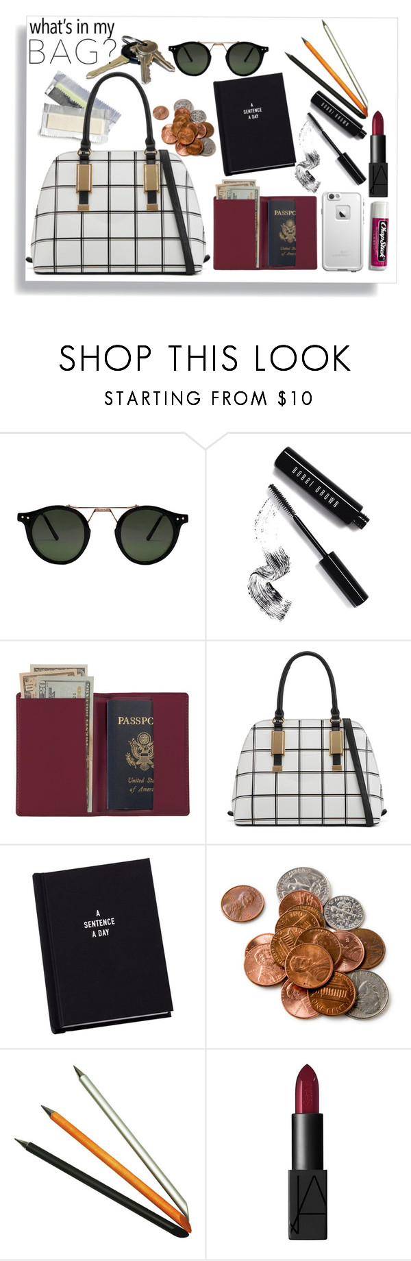 """""""in my bag"""" by couldyouatleast ❤ liked on Polyvore featuring Bobbi Brown Cosmetics, Royce Leather, ALDO, Avon, Jac Zagoory Designs, NARS Cosmetics, LifeProof, Chapstick and inmybag"""