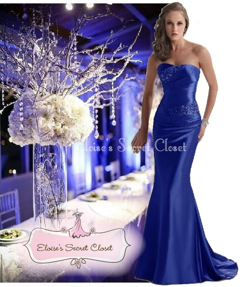 DALLAS Cobalt Blue Beaded Embellished Bridesmaid Ballgown Dress ...