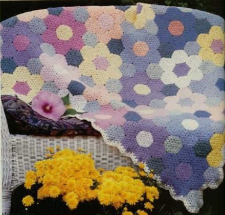 Crochet Pattern Baby Blanket Hexagon Flower Large Afghan Throw