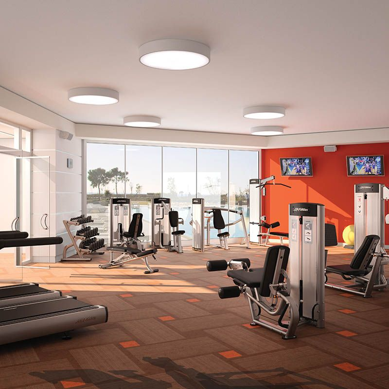 Huge home gym with red walls home gym ideas for Home gym interior design