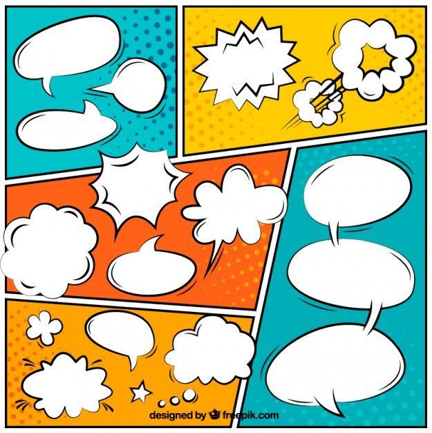 Globos de di logo coloridos de c mic vector gratis p - Cuadros pop art comic ...