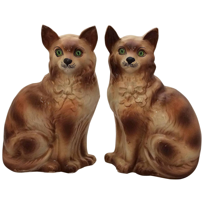 Pair Of 1stdibs Animal Sculptures Boness Cats Eyes