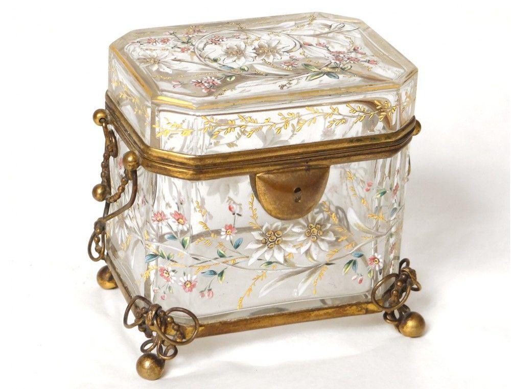 Box Bohemia Enamelled Glass Jewelry Box Crystal Moser Edelweiss Xix Glass Jewelry Box Glass Jewelry Jewelry Box