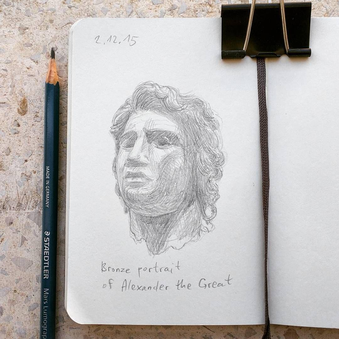 Bronze portrait of alexander the great moleskine sketchbook graphite pencil sketch drawing ancient alexanderthegreat