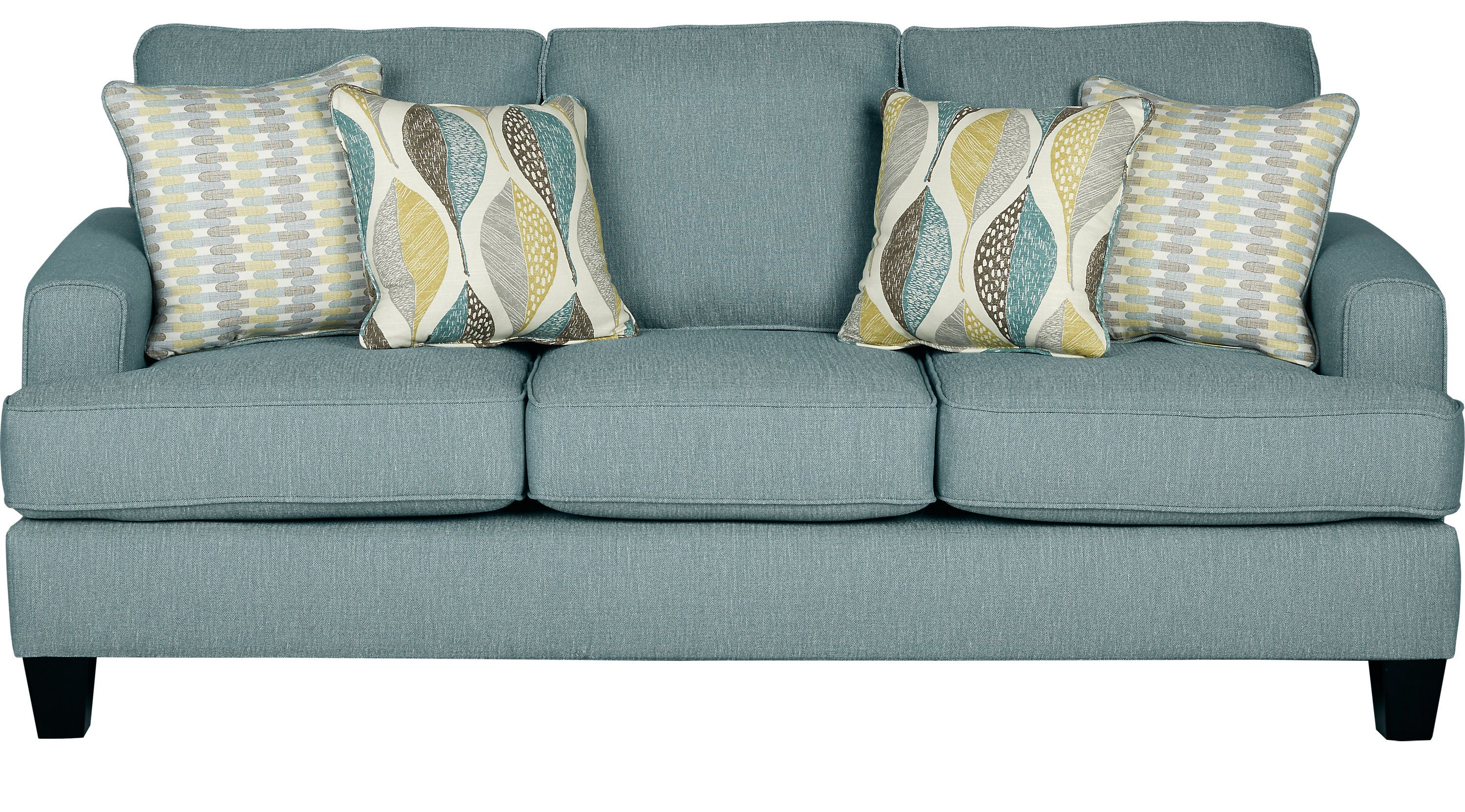 Sofas - Rooms To Go - Cypress Gardens Blue Sofa - 10126604 ...