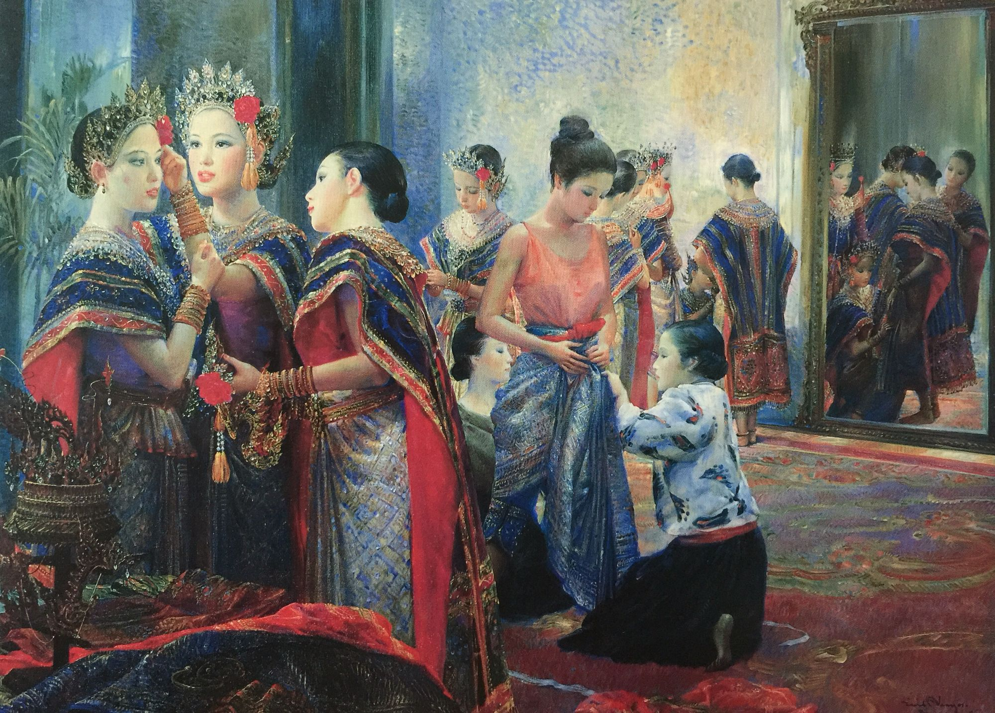 """Before the performance"", 1990, oil on canvas, by Chakrabhand Posayakrit, a Thai national artist"