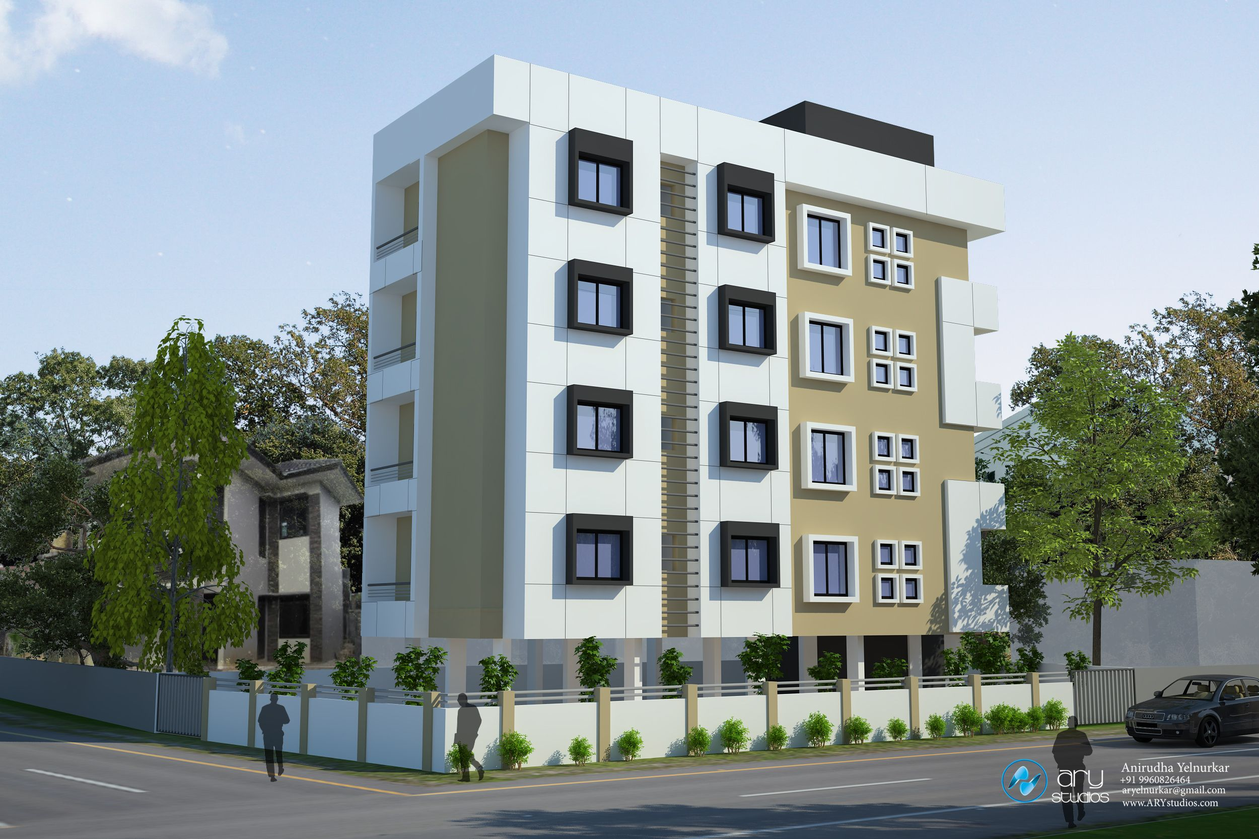 Apartment Building Elevation 3d apartment building elevation doneary studios | building