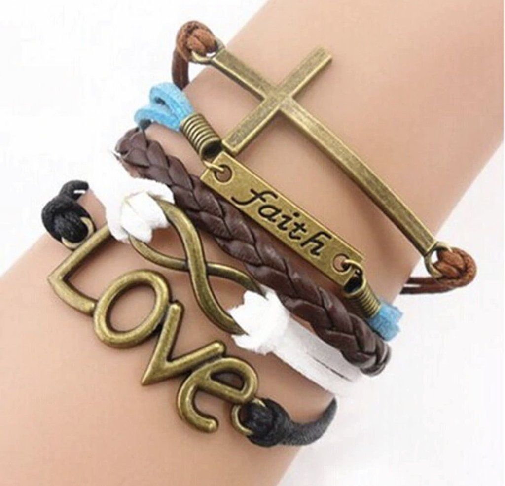 Pink Box Genuine Multi Layer Inspirational Leather Bracelet Silver Love Between Grandmother