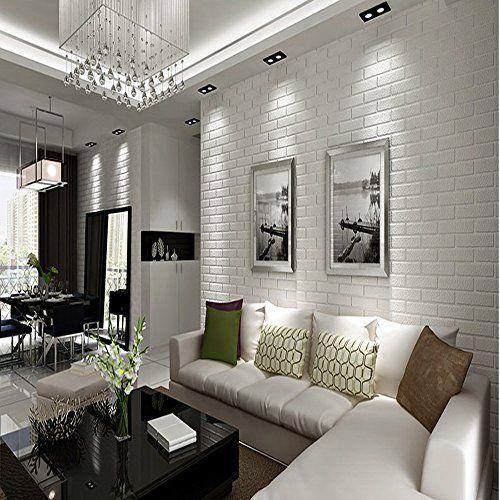 Robot Check White Brick Wall Living Room Brick Wall Living Room Brick Wallpaper Living Room