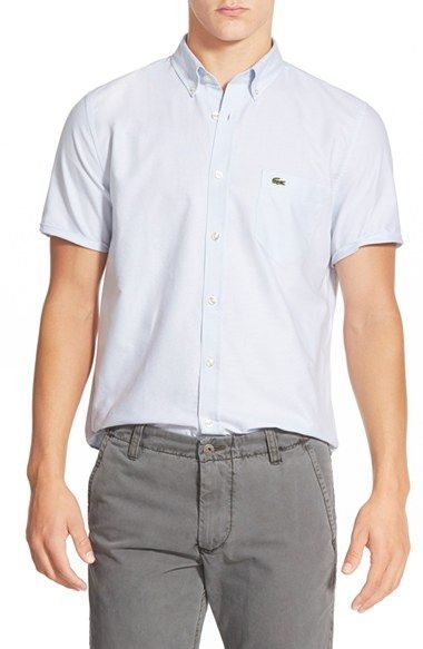 Lacoste Regular Fit Short Sleeve Oxford Woven Shirt