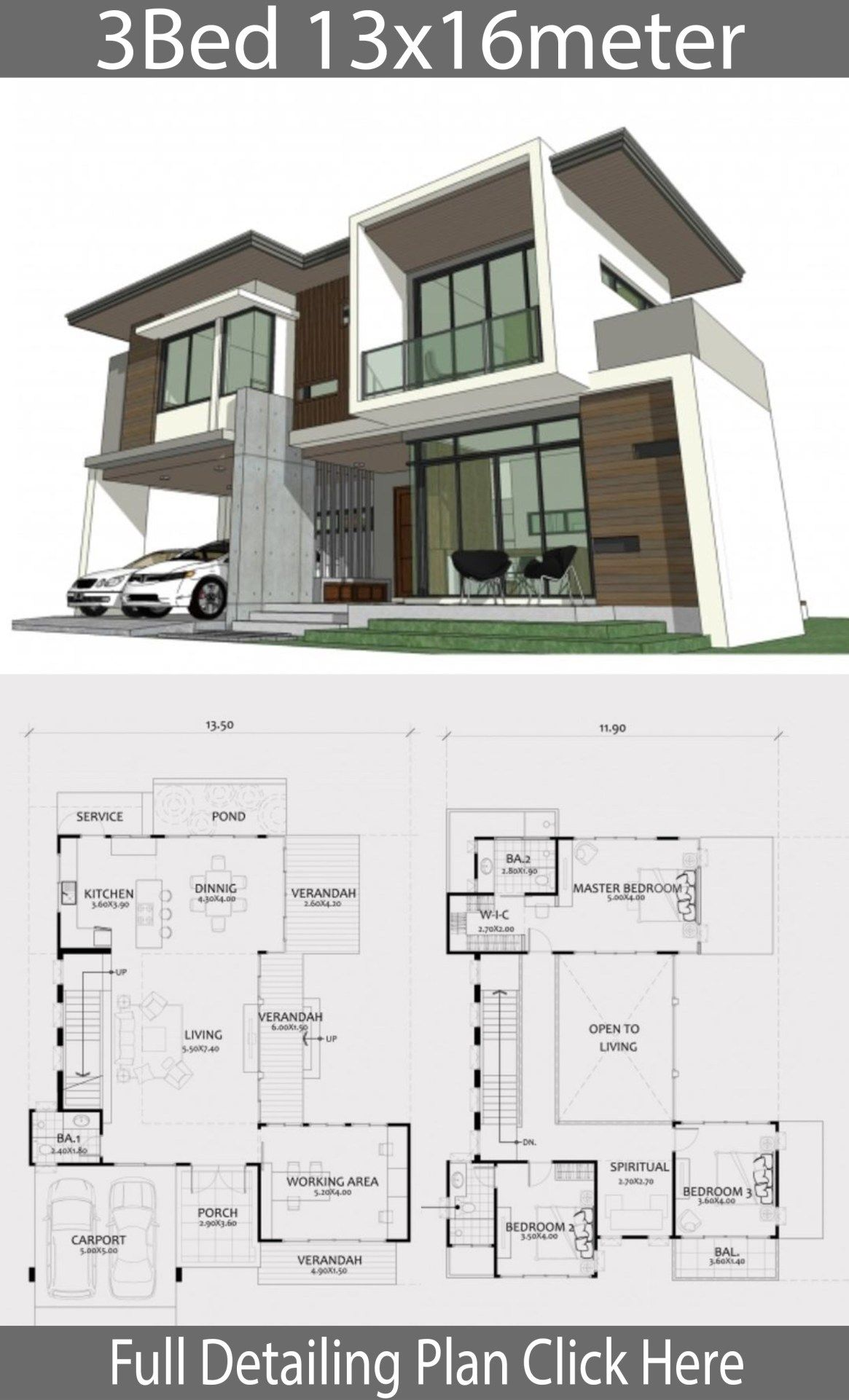 Home Design Plan 13x16m With 3 Bedrooms Home Design With Plansearch Home Design Plan House Plans Architecture House