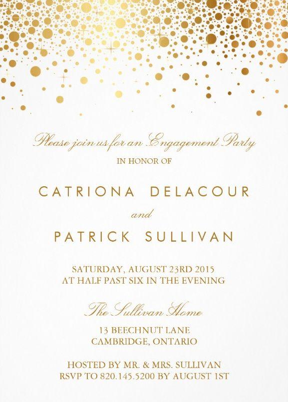 Elegant engagement invites Golden circles Personalize