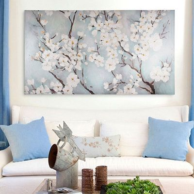 Ivory Cherry Blossoms Canvas Art Print In 2021 Wall Art Diy Paint Cherry Blossom Wall Art Unique Canvas Art