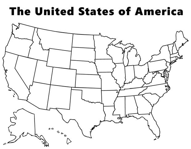Map Of The USA Coloring Page Plus Many Many More