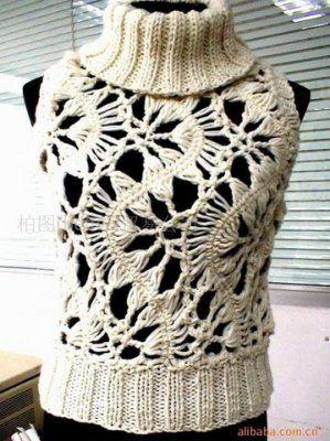 Crochê Tricô: Crochê de Grampo - Blusa Gola Alta
