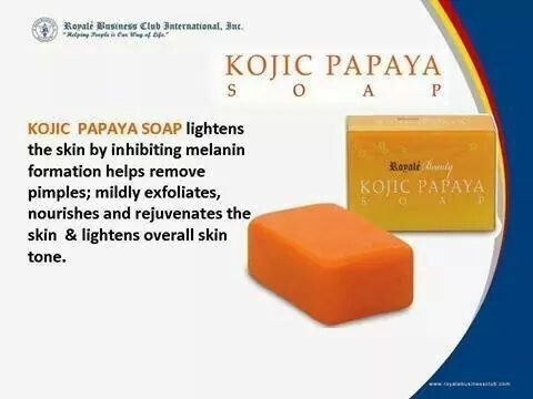 Kojic Papaya Soap: A quality, powerful soap that diminishes dark areas from excessive pigmentation of skin and eliminates freckles, melasma and other pigmentation.