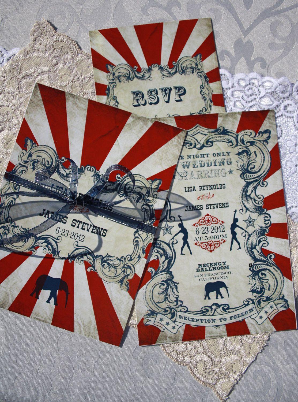Vintage Carnival Wedding Invitation & Response Card (Gorgeous Circus ...