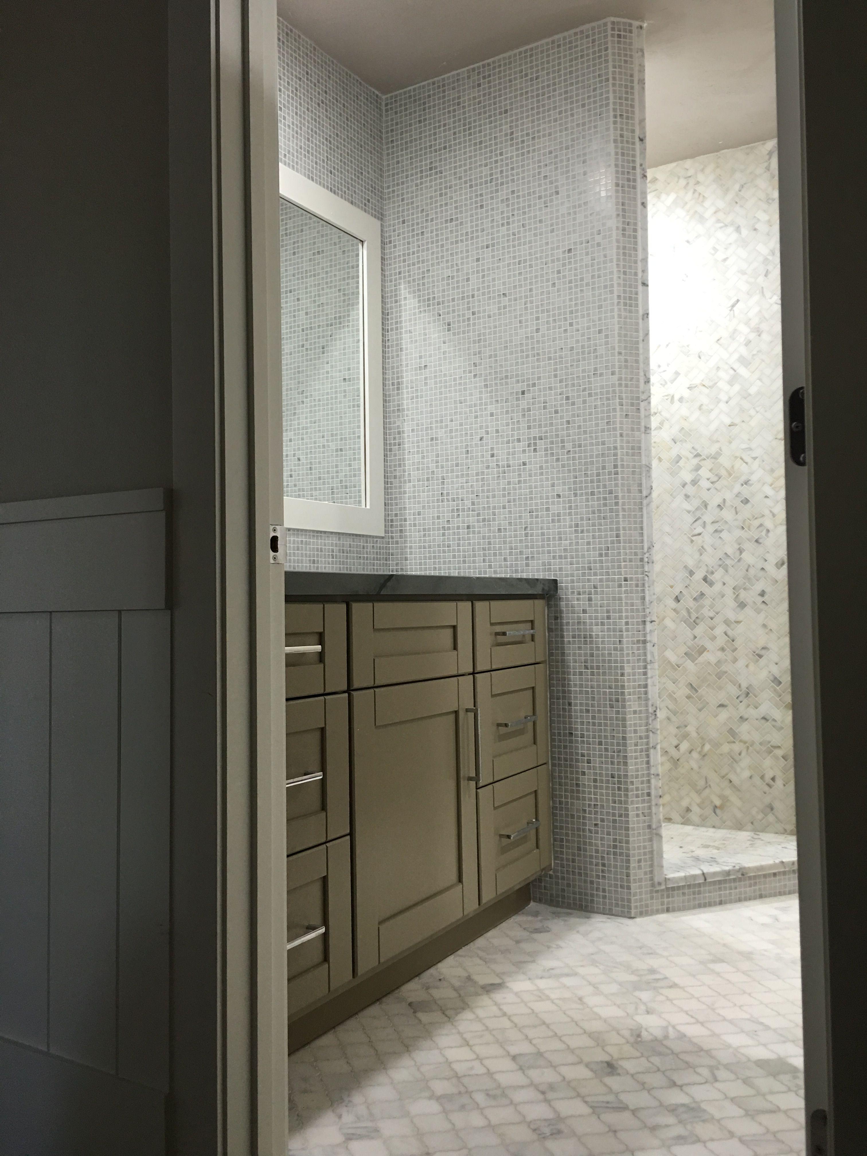 Backsplash accent wall: Honed Bianco Carrara Marble 5/8\