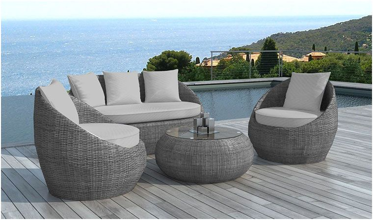 66 Grand Salon De Jardin Tresse Gris Collection Outdoor