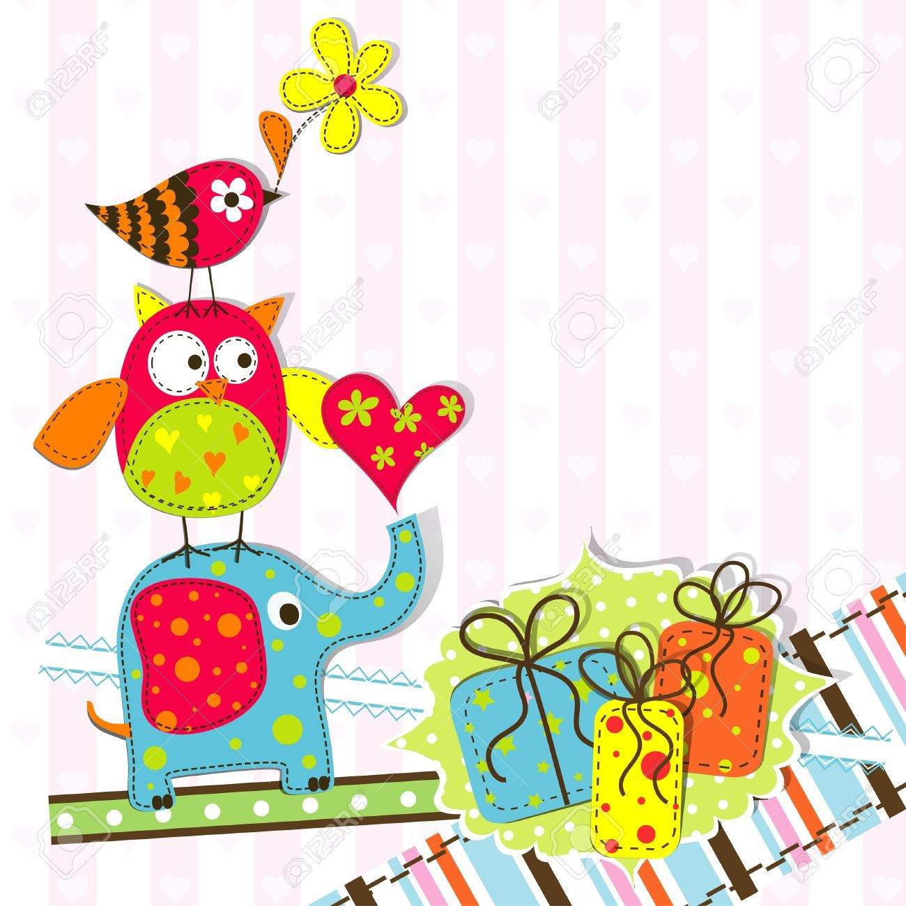 Cute Elephant Template Template Greeting Card Vector  Ideas  Diy