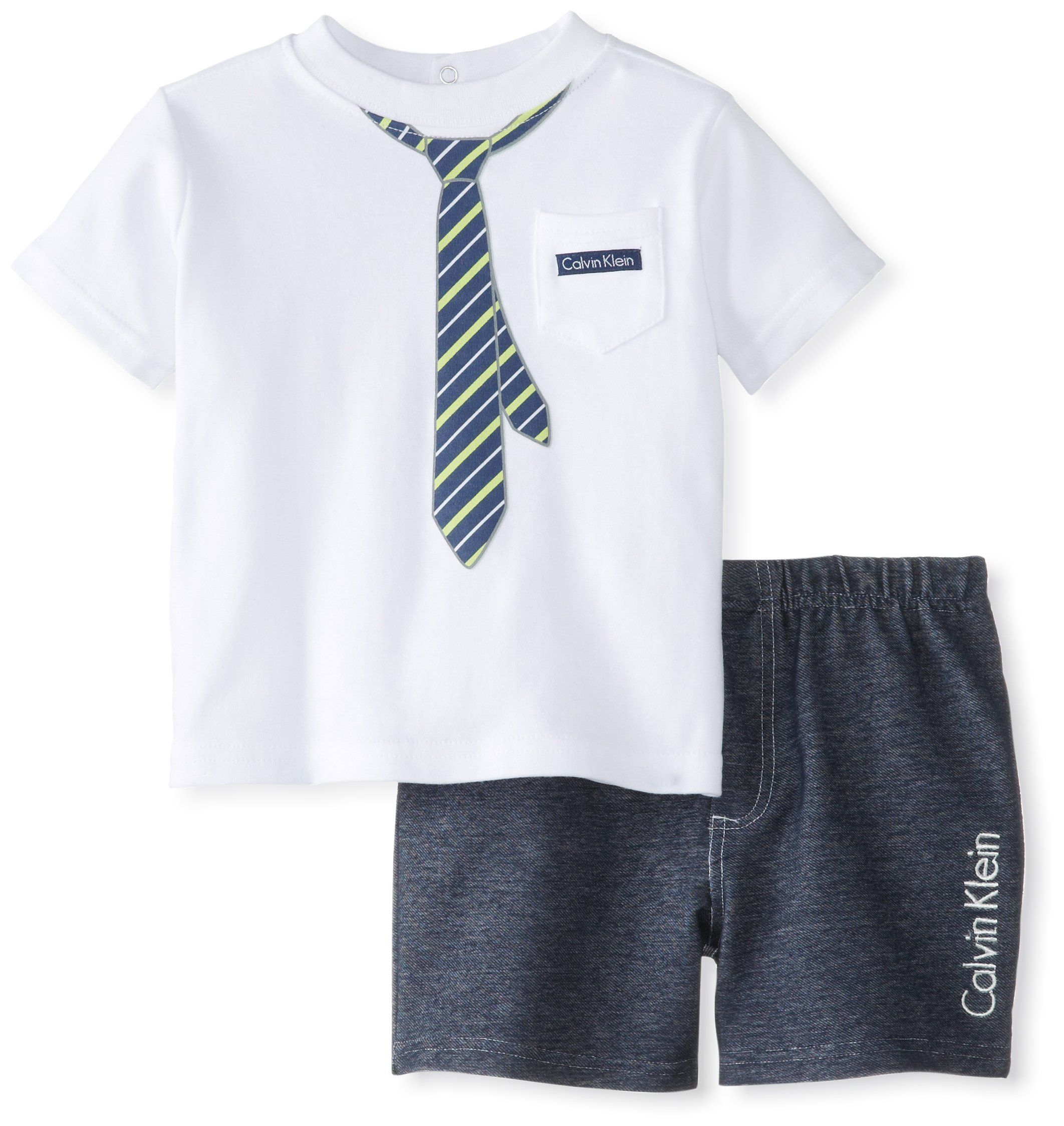 Calvin Klein Baby Boys Infant Tee with Short Tie White 18 Months