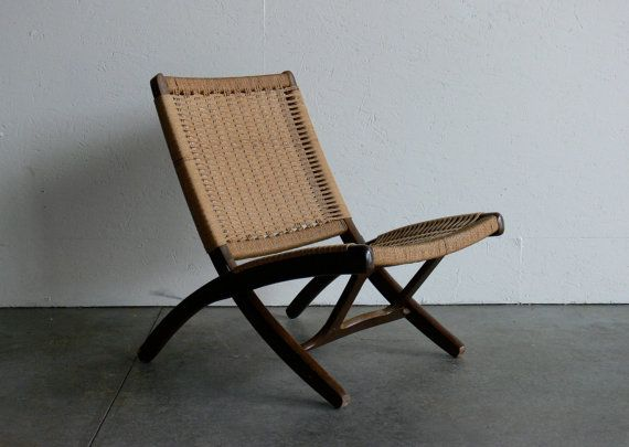 Vintage Danish Hans Wegner Style Rope Folding Chair By Comod