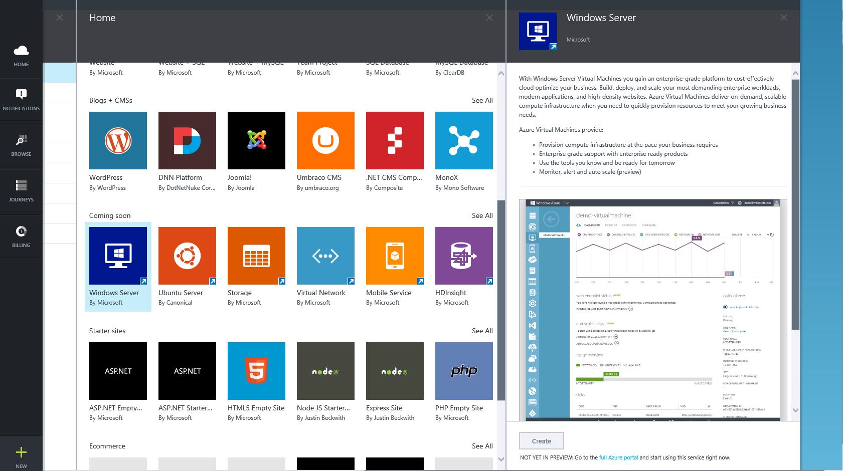 Azure Preview Portal Azure Preview Portal Gallery