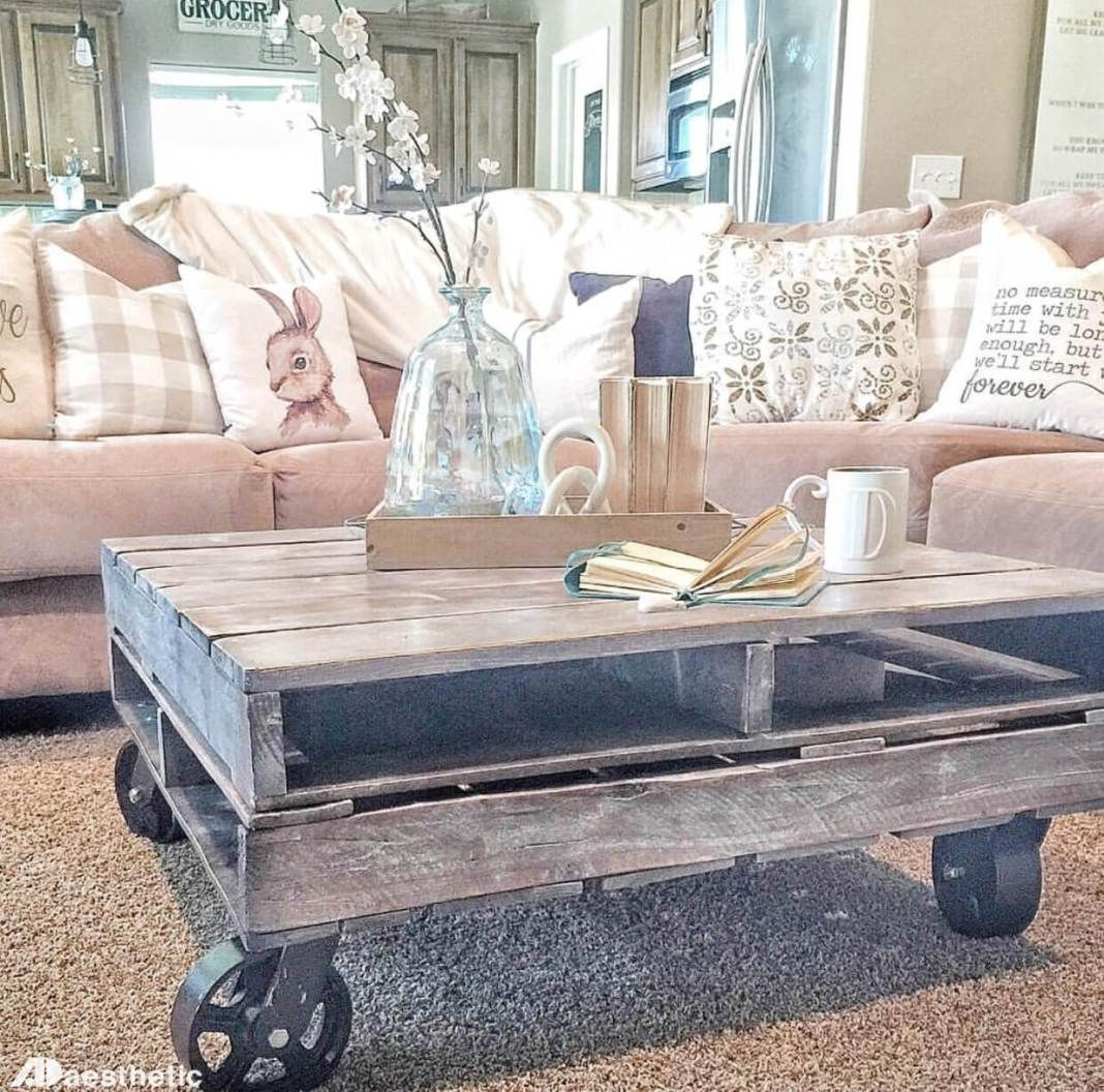 Diy rustic farmhouse pallet coffee table aesthetics style and diy rustic farmhouse pallet coffee table geotapseo Choice Image