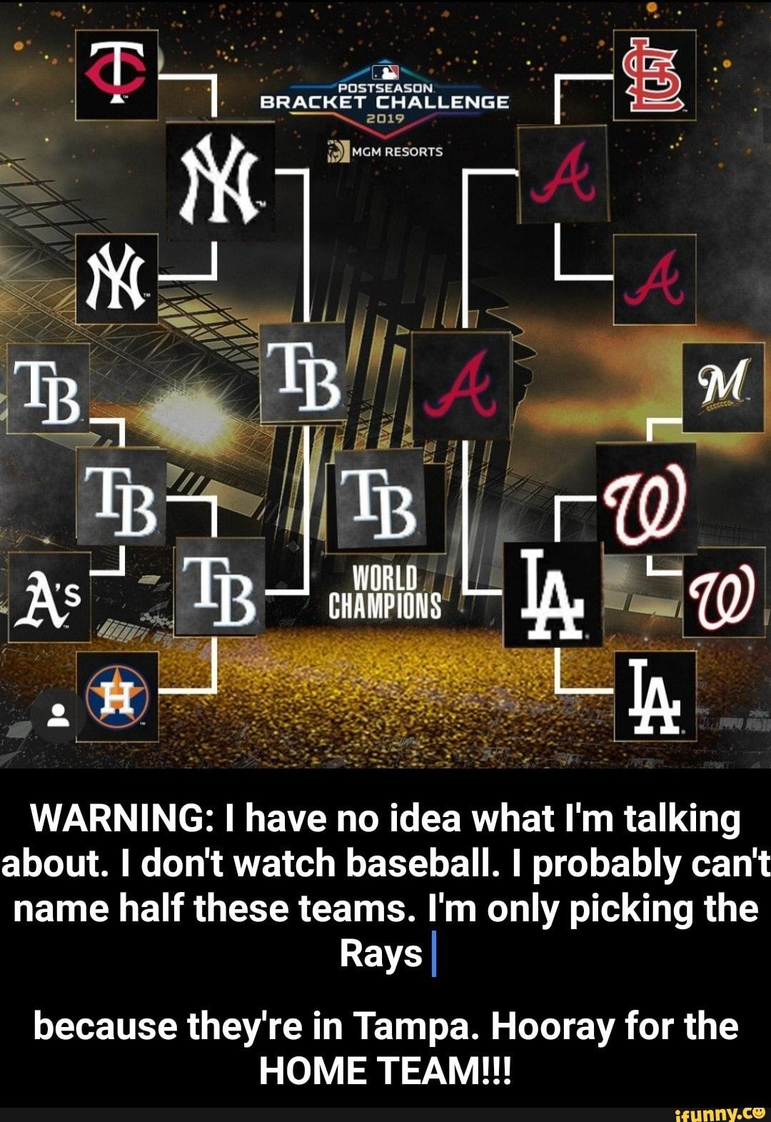 Warning L Have No Idea What I M Talking About I Don T Watch Baseball I Probably Can T Name Half These Teams I M Only Picking The Rays I Because They Re In T Home