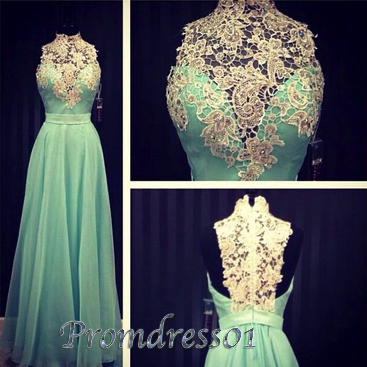 Beautiful turquoise chiffon aline long prom dress high neck