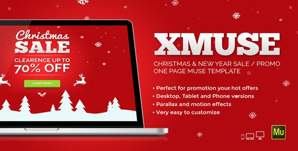xmuse christmas sale promo muse template template and adobe