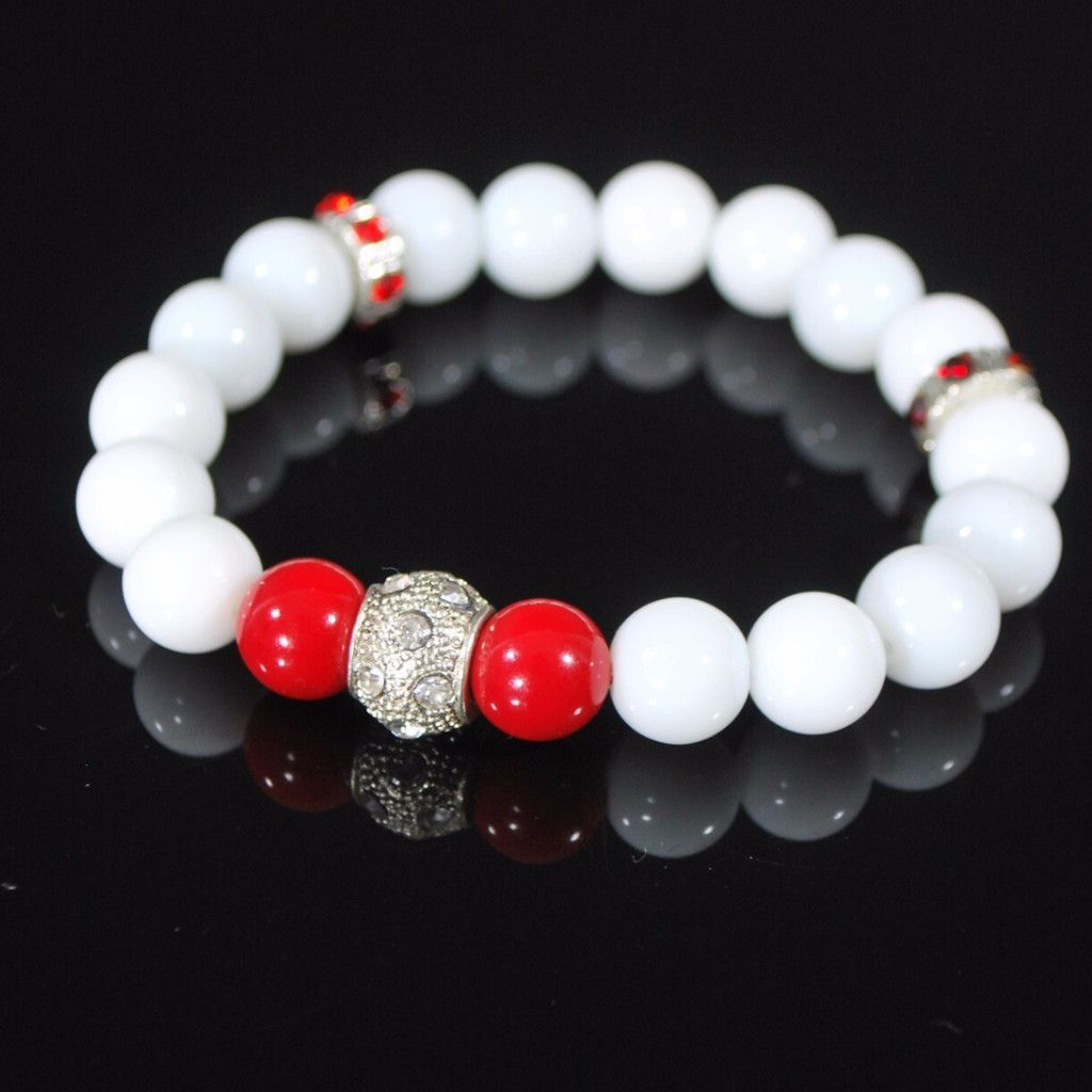 White Jade With Red Pearls Ascent Elegant Bracelets   Holiday ...